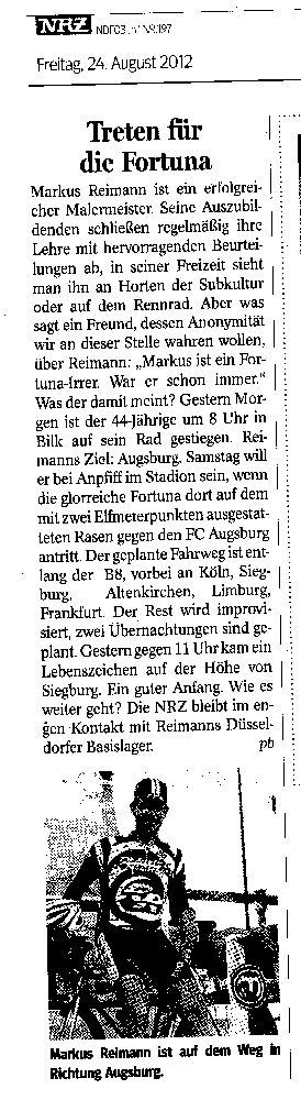 Die NRZ berichtet über Meister Reimanns Tour nach Augsburg