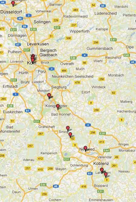 Für Fortuna nach Stuttgart! Immer am Rhein lang...