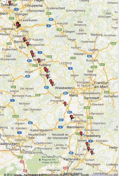 Für Fortuna nach Stuttgart! Strecke an Tag 2