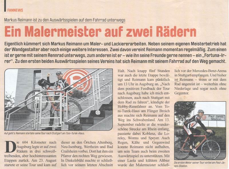 Markus Reimann in der Stadionzeitung der Fortuna!